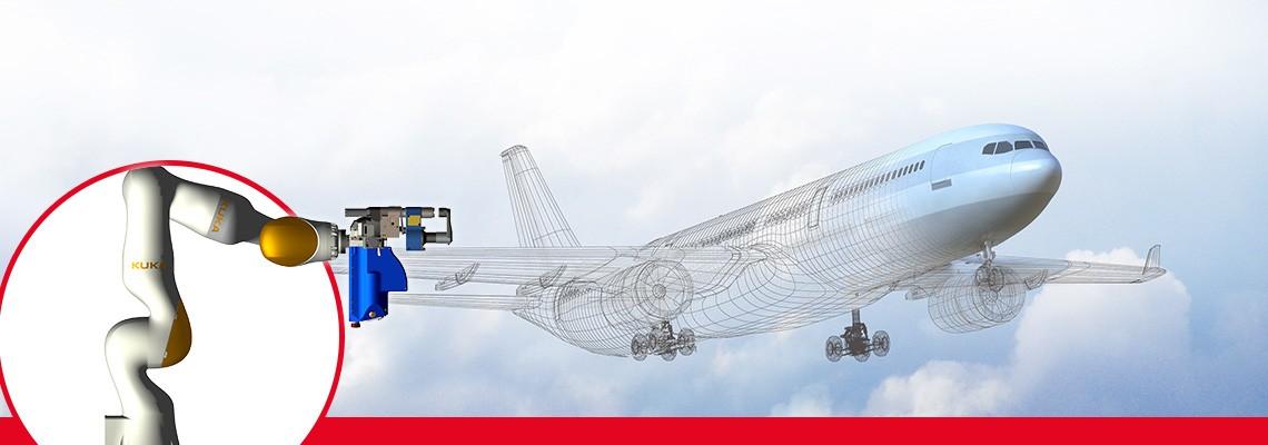 Roboteranwendungen für die Luftfahrt. Elektrische Bohrvorschubeinheiten für den Einsatz in der Smart Factory.