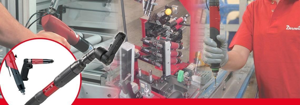 Desoutter  hat eine komplette Serie an pneumatischen Befestigungswerkzeugen entwickelt, einschließlich Schraubendreher ohne Abschaltung mit Pistolengriff konzipiert für Präzision und Qualität.